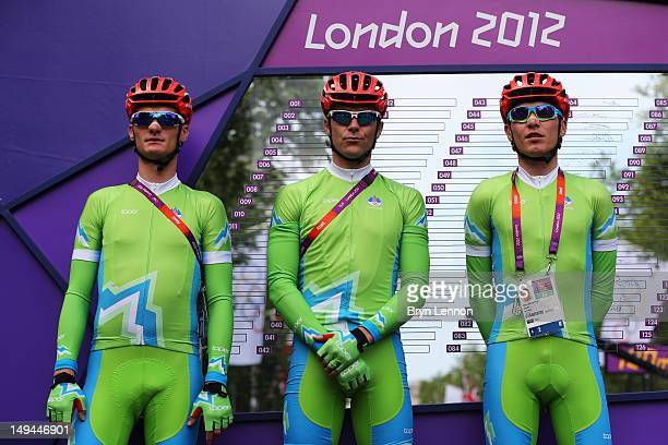 Slovenia team pose ahead of the Men's Road Race Road Cycling on day 1 of the London 2012 Olympic Games on July 28 2012 in London England