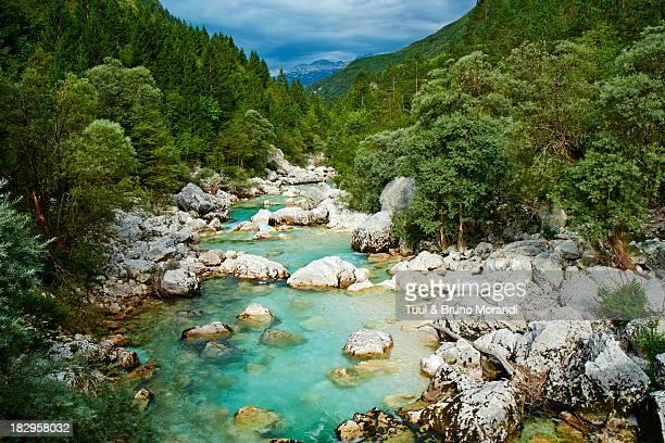 slovenia, triglav national park, soca river gorge - slowenien stock-fotos und bilder