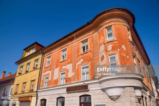 Slovenia, Upper Carniola, Kranj, A colourful corner on Glavni trg which is the Old Towns main square.