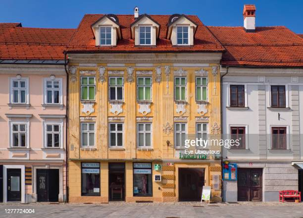 Slovenia, Upper Carniola, Kranj, Colourful facade on Glavni trg which is the Old Towns main square.