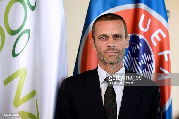 Slovenian Aleksander Ceferin, newly elected president of UEFA, addresses journalists during a press conference in Brdo Castle near Kranj on September...