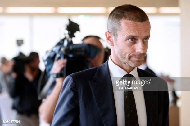 Slovenian Aleksander Ceferin, newly elected president of UEFA, looks on after a press conference in Brdo Castle near Kranj on September 16, 2016....