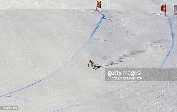 Slovenian Ales Gorza races during the men's official downhill combined of the FIS Ski World cup 03 February 2008 in Val D'Isere Miller set the best...