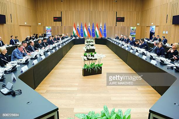Slovenian and Hungarian governments hold a joint session in Brdo, near Kranj, on January 22, 2016. / AFP / JURE MAKOVEC