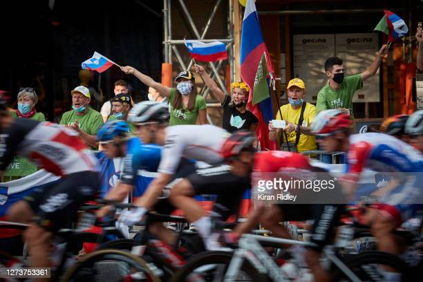 Slovenian cycling fans watch the final stage of the Tour de France on the Champs Elysees and cheer on their compatriot Tadej Pogacar as he wins this...