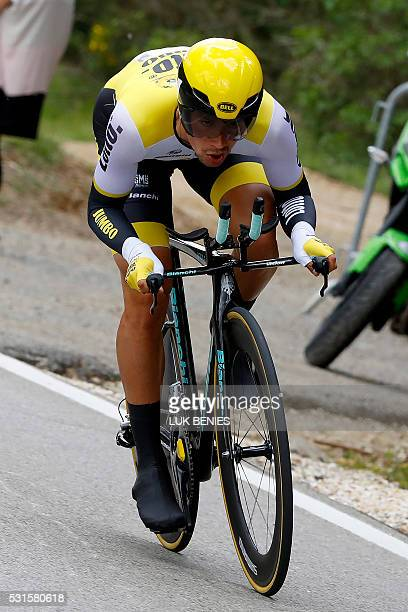 Slovenian cyclist Primoz Roglic of Lotto NL Jumbo team cycles during the 9th individual time trial stage of 99th Giro d'Italia Tour of Italy from...