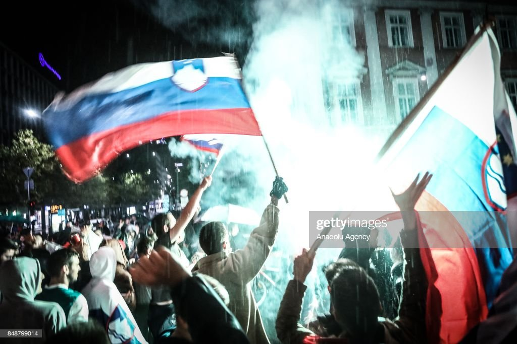 Slovenian fans attend celebrations in Ljubljana, Slovenia on September 17, 2017 as the Slovenia National Basketball Team wins the European championship title at the FIBA Eurobasket 2017.