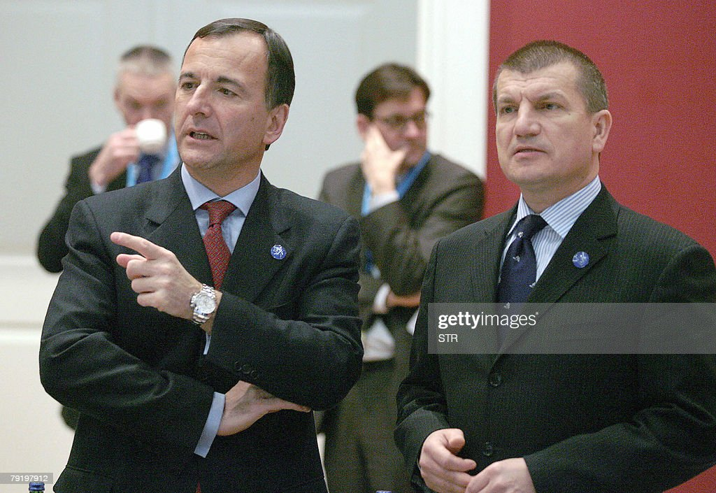 Slovenian Interior Minister Dragutin Mate (R) talks with EU Commission Vice President Franco Frattini before a Multi-Presidency meeting of ministers of home affairs with the EU Commission 24 January 2008 in Ljubljana, as EU ministers met for an informal meeting.