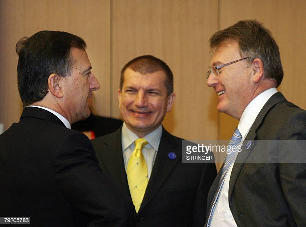 Slovenian Interior Minister Dragutin Mate talks with EU VicePresident Commissioner Franco Frattini and Luxembourg Minister Delegate of Foreign...