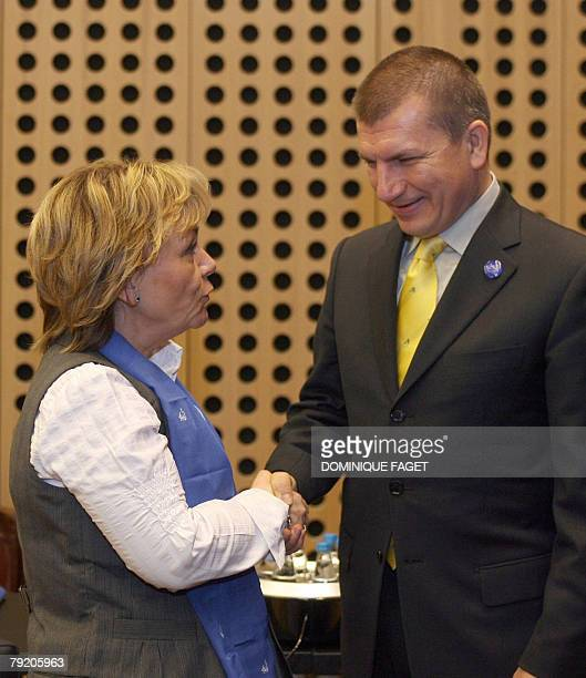Slovenian Interior Minister Dragutin Mate welcomes Swedish Justice Minister Beatrice Ask before an Informal meeting of European Justice Ministers 25...