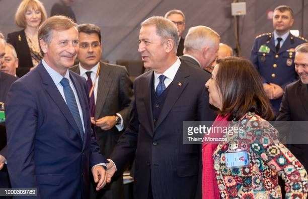 Slovenian Minister of defense Karl Erjavec is talking with the Turkish Defense Minister Hulusi Akar and the Spanish Minister of defense Margarita...