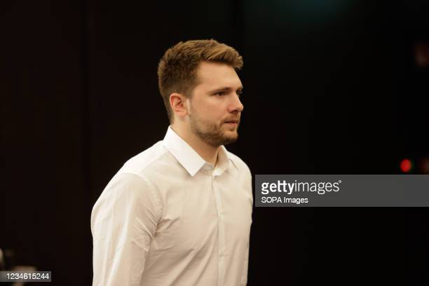 Slovenian NBA star Luka Doncic arrives at a press conference. Slovenian NBA star, Luka Doncic signed a five-year 207-million-dollar contract...