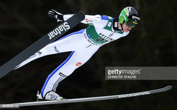 Slovenian Peter Prevc soars during his training jump for the FIS ski jumping World Cup flying hill individual competition in Oberstdorf southern...