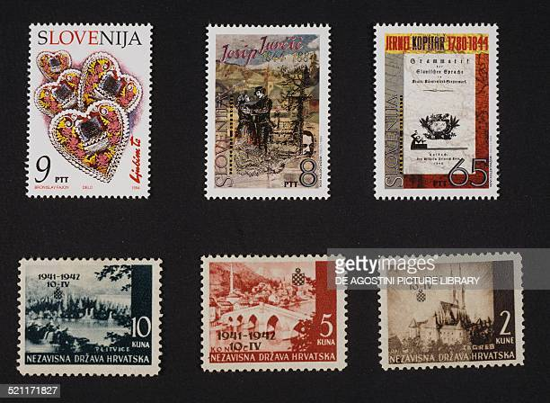 Slovenian postage stamps top from left postage stamp depicting some Hearts postage stamp honouring Josip Jurcic postage stamp depicting the cover of...