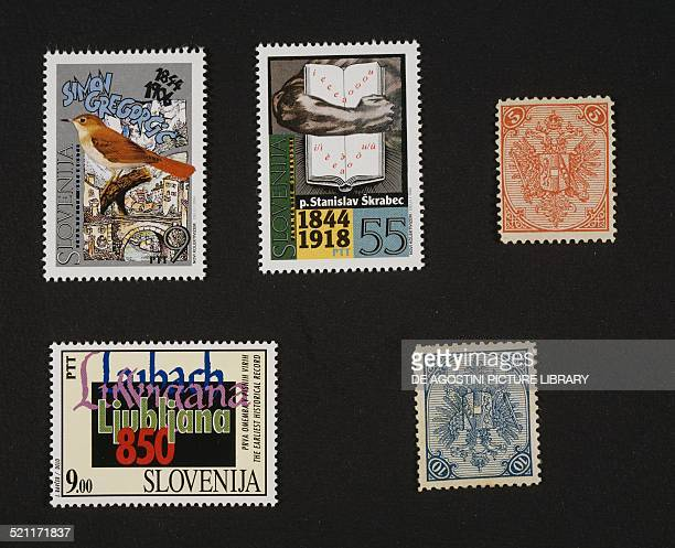 Slovenian postage stamps top left postage stamp honouring Simon Gregorcic centre postage stamp honouring Stanislav Skrabec bottom left postage stamp...