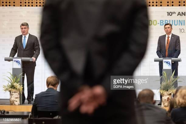 Slovenian president Borut Pahor and Croatian president Zoran Milanovic speak at a press conference following the Brdo-Brijuni Process summit....