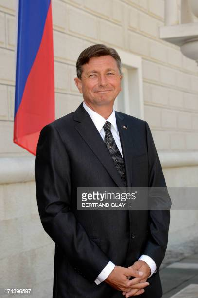 Slovenian President Borut Pahor awaits the arrival of his French counterpart ahead of the Leaders' Meeting of the Brdo Process at Brdo Castle in Brdo...