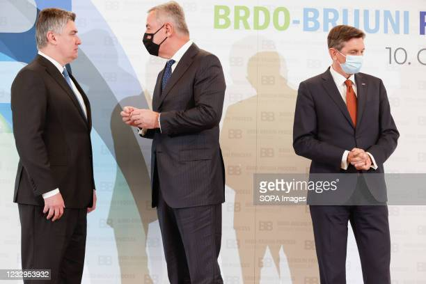 Slovenian president Borut Pahor , Croatian president Zoran Milanovic and president of Montenegro Milo Djukanovic attend the Brdo-Brijuni Process...