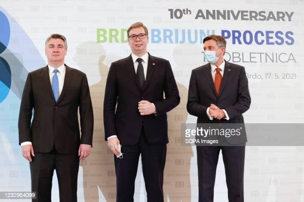 Slovenian president Borut Pahor , Croatian president Zoran Milanovic and Serbian president Aleksandar Vucic pose for a group photo at the...