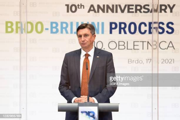 Slovenian president Borut Pahor speaks at a press conference following the Brdo-Brijuni Process summit in Slovenia. Slovenian president Borut Pahor...