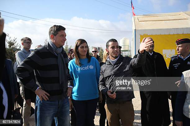 Slovenian President Borut Pahor visits Makani's gym run by Unicef during his visit to the Zaatari refugee camp on December 3 2016 near Al Mafraq...