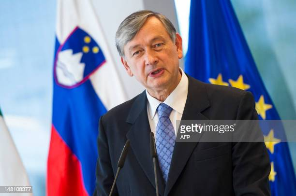 Slovenian President Danilo Turk speaks during a joint press conference after a meeting with his Italian counterpart Giorgio Napolitano at Castle Brdo...