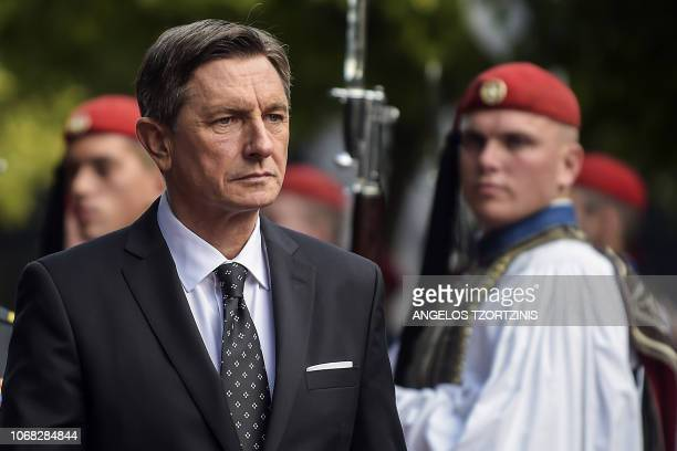 Slovenian Presidential Borut Pahor reviews the Greek Presidential guard before a meeting with Greek President Prokopis Pavlopoulos in Athens on...
