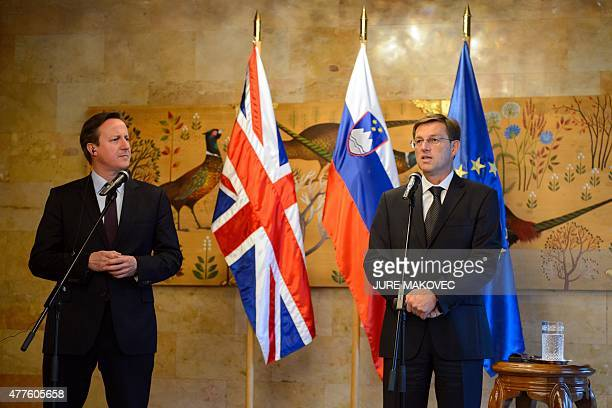 Slovenian Prime Minister Miro Cerar and British Prime Minister David Cameron hold a joint press conference at Brdo Castle some 25 km north of...