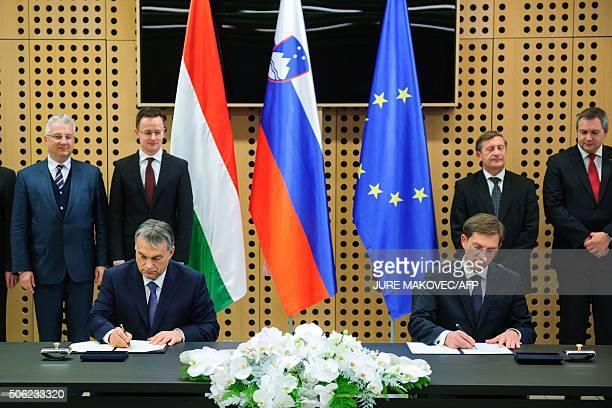 Slovenian Prime Minister Miro Cerar and his Hungarian counterpart Viktor Orban sign Memorandum on integrated development of infrastructural relations...