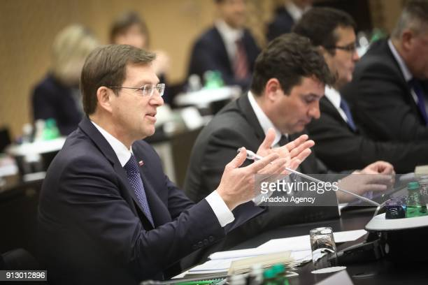Slovenian Prime Minister Miro Cerar and Serbian Prime Minister Ana Brnabic attend Serbia and Slovenia joint government session in Kranj, Slovenia on...