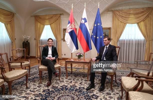 Slovenian Prime Minister Miro Cerar and Serbian Prime Minister Ana Brnabic hold a press conference after Serbia and Slovenia joint government session...