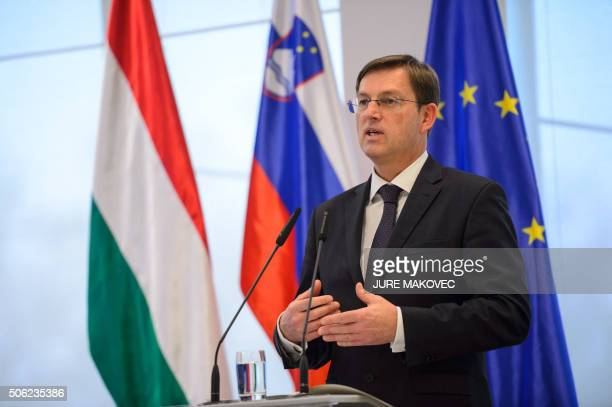 Slovenian Prime Minister Miro Cerar speaks during a press conference after a meeting with his Hungarian counterpart Viktor Orban in Brdo near Kranj...