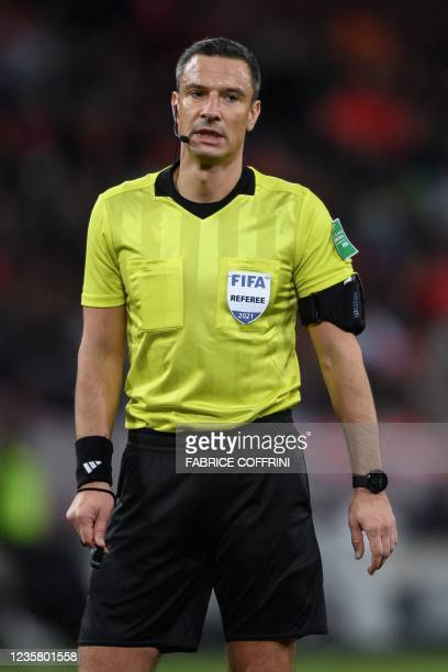 Slovenian referee Slavko Vincic looks on during FIFA World Cup Qatar 2022 qualification football match between Switzerland and Northern Ireland at...
