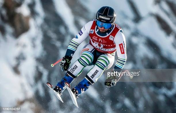 Slovenian skier Martin Cater competes during the FIS Alpine World Cup Men downhill on December 13, 2020 in Val d'Isere, French Alps.