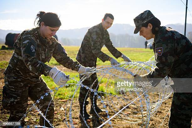 Slovenian soldiers build a razor wire fence on the SlovenianCroatian border in Gibina northeastern Slovenia on November 11 2015 Slovenia's army began...