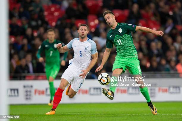Slovenia's Andraz Sporar in action during the FIFA 2018 World Cup Qualifier between England and Slovenia at Wembley Stadium on October 5 2017 in...
