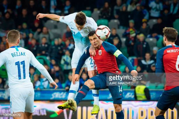Slovenia's Benjamin Verbic vies for the ball with Omar Elabdellaoui of Norway during a UEFA Nations League football match Slovenia against Norway at...