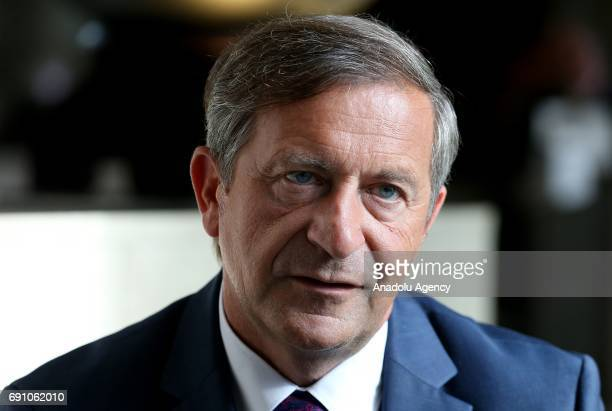 Slovenia's Deputy Prime Minister and Minister of Foreign Affairs Karl Erjavec speaks during an exclusive interview with Anadolu Agency in Ankara...
