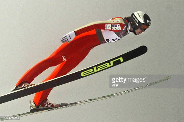 Slovenia's Eva Logar competes in the women's normal hill ski jump competition in the Nordic Skiing World Championships in Oslo February 25 2011 AFP...