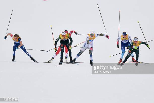 Slovenia's Eva Urevc Germany's Victoria Carl Sweden's Maja Dahlqvist Switzerland's Nadine Faehndrich and Germany's Sandra Ringwald compete in the...