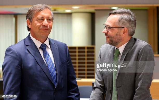 Slovenia's Foreign Minister Karl Erjavec attends the EU Foreign Affairs Ministers meeting at the EU headquarters in Belgium Brussels on May 15 2017...