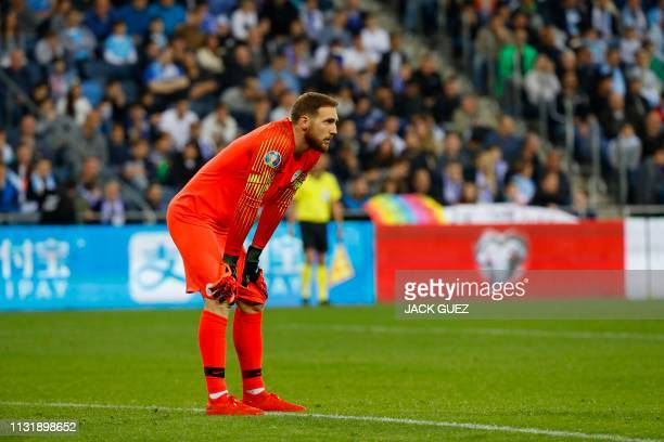 Slovenia's goalkeeper Jan Oblak looks on during the Euro 2020 Group G football qualification match between Israel and Slovenia in at the Sammy Ofer...
