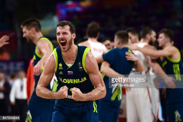 TOPSHOT Slovenia's guard Goran Dragic celebrates after his team's win after the FIBA Eurobasket 2017 men's semifinal basketball match between Spain...