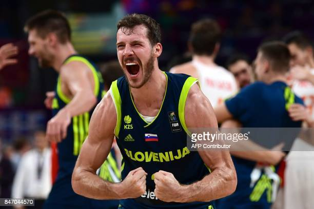 Slovenia's guard Goran Dragic celebrates after his team's win after the FIBA Eurobasket 2017 men's semifinal basketball match between Spain and...
