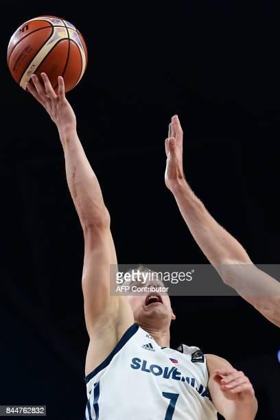 Slovenia's guard Klemen Prepelic reaches up for the ball during the FIBA Eurobasket 2017 men's round 16 basketball match between Slovenia and Ukraine...