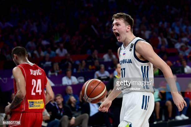 Slovenia's guard Luka Doncic reacts during the FIBA Eurobasket 2017 men's Final basketball match between Slovenia and Serbia at Sinan Erdem Sport...