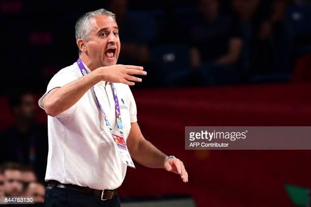 Slovenia's head coach Igor Kokoskov gestures during the FIBA Eurobasket 2017 men's round 16 basketball match between Slovenia and Ukraine at Sinan...