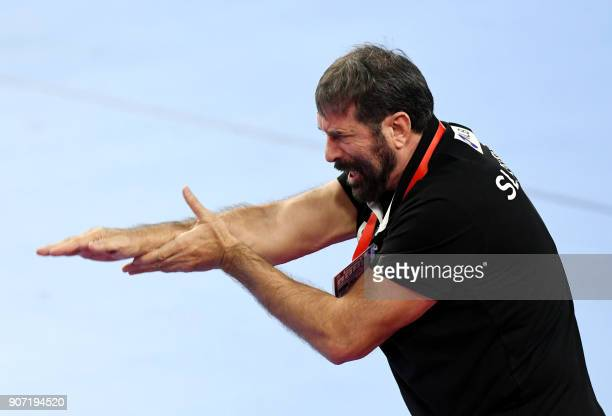 Slovenia's head coach Veselin Vujovic gestures during the group II match of the Men's 2018 EHF European Handball Championship between Slovenia and...