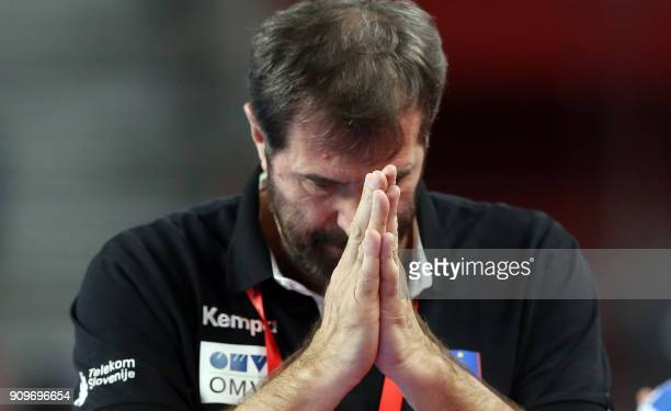 Slovenia's head coach Veselin Vujovic gestures during the group match of the Men's 2018 EHF European Handball Championship between Slovenia and Czech...