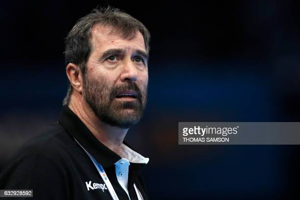 Slovenia's head coach Veselin Vujovic looks on during the 25th IHF Men's World Championship 2017 bronze medal handball match Slovenia vs Croatia on...